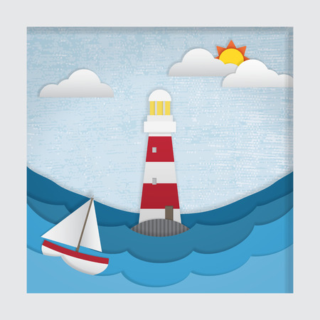 3d effect cut-out picture of a lighthouse during the day.  This file is Vector. It uses gradient mesh, transparencies and clipping mask