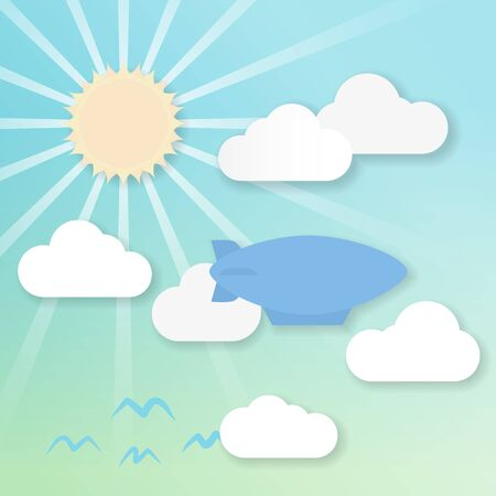 shadowed: 3d effect drawing of an airship in a sunny sky Illustration
