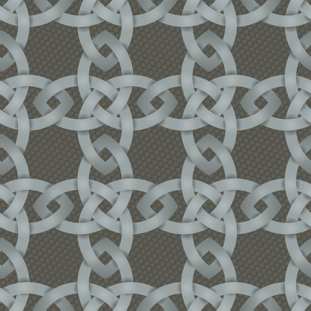 knotwork: Seamless background tile with an intertwining Celtic Knotwork pattern over a basketweave style backdrop.  This file is Vector EPS10. It uses clipping mask and opacity masks.