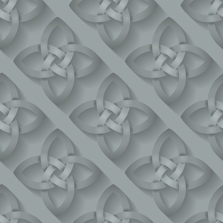 blends: Seamless background tile with an intertwining Celtic Knotwork pattern with a long shadow effect.  This file is Vector EPS10. It uses clipping mask, blends and opacity masks.