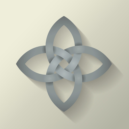 blends: 4 point Celtic knot with a long shadow effect.  This file is Vector EPS10. It uses clipping mask, blends and opacity masks.