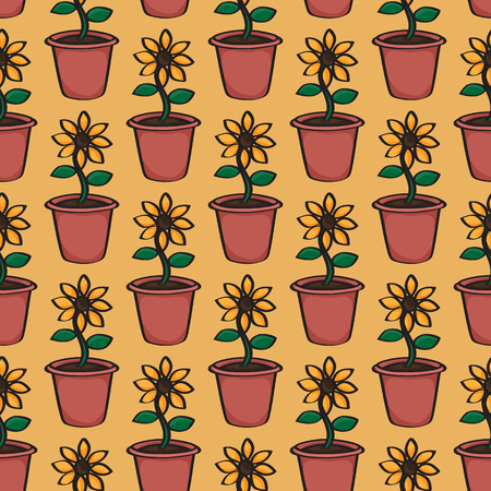 terracotta: Seamless background tile with a pattern of cartoon sunflowers in terracotta pots.