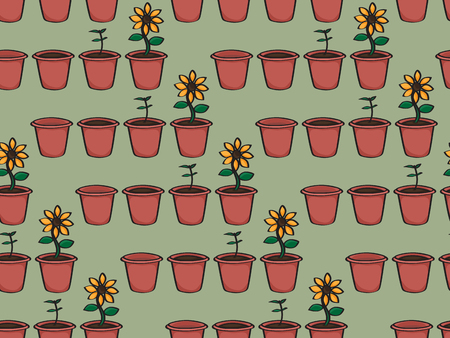 doodled: Seamless background tile with a cartoon doodled pattern of a growing flower. Pattern shows an empty terracotta pot, a pot with earth, a seedling, and a sunflower.