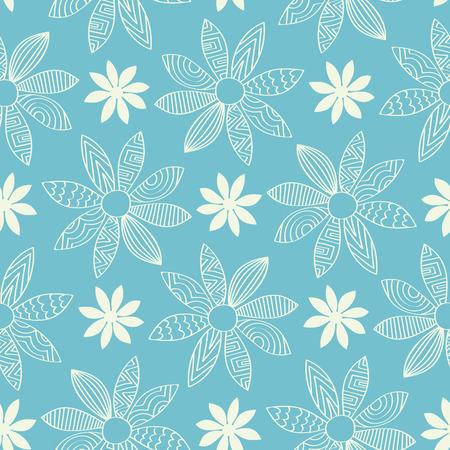 flor caricatura: Azulejo inconsútil del fondo con un diseño de flores de dibujos animados garabatos. Cada pétalo tiene un patrón de garabatos.