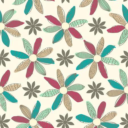 flor caricatura: Azulejo inconsútil del fondo con un diseño de flores de dibujos animados garabatos. Cada pétalo tiene un patrón de garabatos y un chorrito sólida de color detrás.