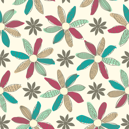 simple line drawing: Seamless background tile with a doodled cartoon flower design. Each petal has a doodled pattern and a solid splash of color behind.  Illustration