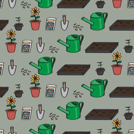kompost: Nahtlose Hintergrund Kachel mit einem Muster der Karikatur Gartenger�te. Illustration