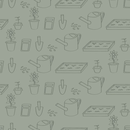 compost: Seamless background tile with a pattern of cartoon gardening tools.  Illustration