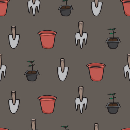 terracotta: Seamless background tile with a cartoon pattern of gardening tools. Pattern shows a trowel, a fork a terracotta pot and a seedling ready to be planted.