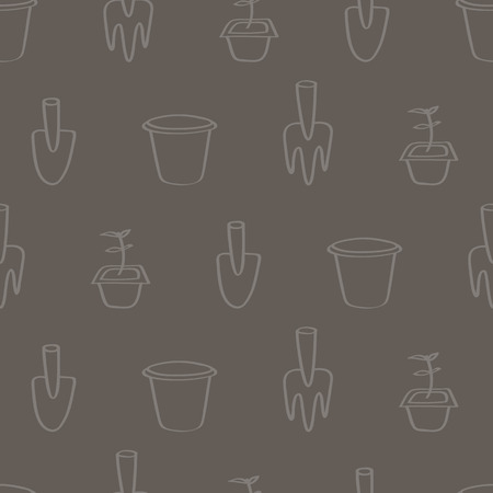 potting soil: Seamless background tile with a cartoon pattern of gardening tools. Pattern shows a trowel, a fork a terracotta pot and a seedling ready to be planted.