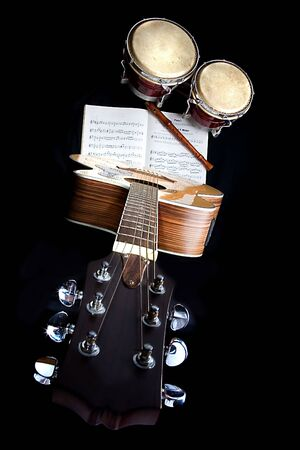 A collection of wooden musical instruments photo
