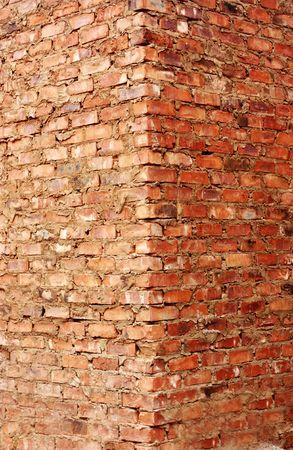 duo tone: A rich colored masonry brick wall corner in a duo tone shading