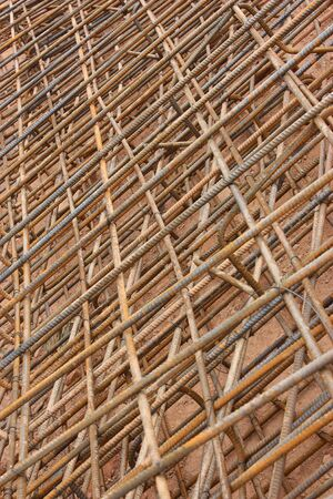 A heap of steel reinforcing mesh used on a construction site photo
