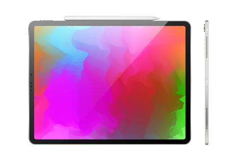 Tablette tactile avec stylet sur fond clair. Vue de dessus et vue de côté. Illustration réaliste de vecteur. Vecteurs