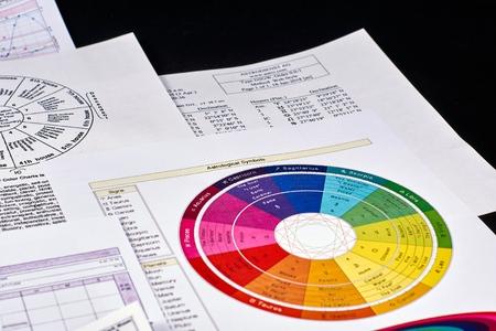 Astrological forecast. Chart of astrological symbols on the background of astrological sheets and signs on black velvet background