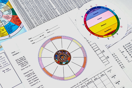 Astrological forecast. Personal astrological horoscope form and astrological houses map on the background of ephemeris spreadsheet, astrological charts and signs