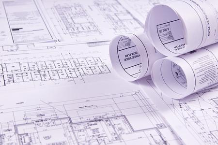 Sfondo di ingegneria. Disegni costruttivi di edifici e strutture per il lavoro di ingegneria del progetto. Avvicinamento.