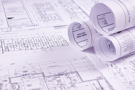 Technischer Hintergrund. Konstruktionszeichnungen von Gebäuden und Bauwerken für die Projektierungsarbeiten. Nahansicht.