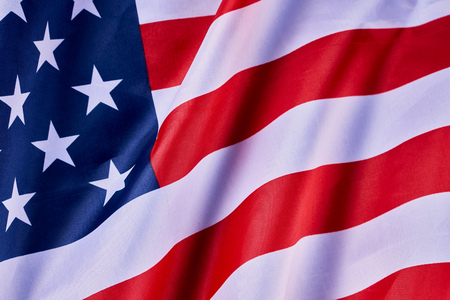 American flag waving in the wind. Close-up Stock fotó
