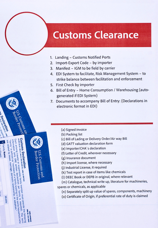 Page with the rules of customs clearance next to forms of the customs declaration