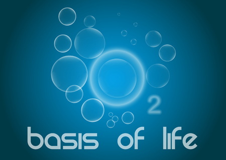Conceptual banner with lettering. Oxygen is the basis of life. Ilustração