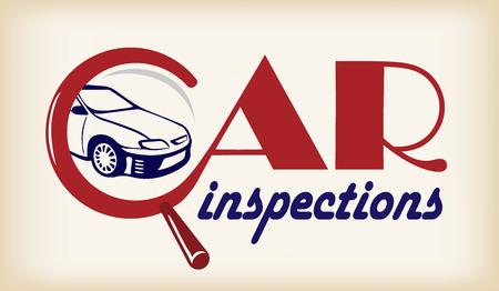Logo auto-inspectie. Conceptuele banner met belettering.
