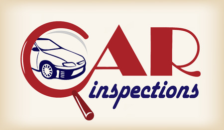 Logo car inspection. Conceptual banner with lettering.