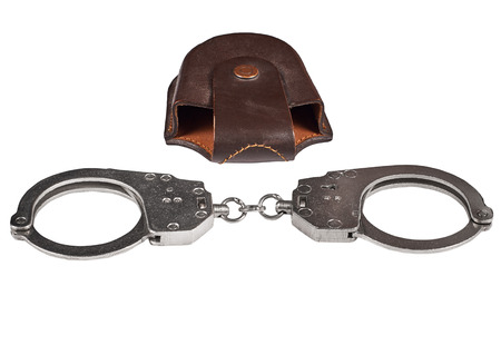 police handcuffs with case, isolated on white background