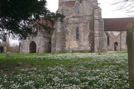 churchyard: Country churchyard with snowdrops Stock Photo