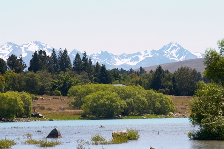tekapo: Lake Tekapo with Southern Alps Stock Photo