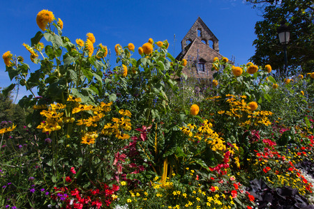 Flower border and chapel photo