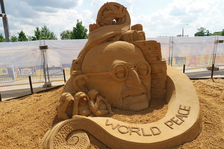 appropriate: A World peace sand statue from the appropriate exhibition in Kolomenskoye, Moscow, Russia
