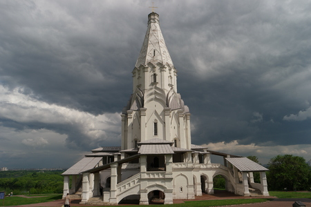 the ascension: Ancient Orthodox Church of the Ascension in Kolomenskoye Moscow. It is a UNESCO memorial, built in 1532. Stock Photo