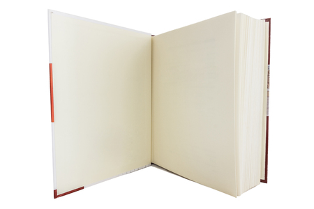 Blank white pages in an open hardcover book isolated on a white background  photo