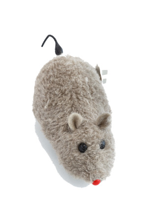 mechanical mouse: Windup mechanical toy mouse on white background