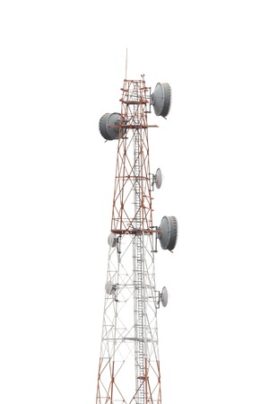 Cellphone telecommunication tower on white isolate background  Use dicut technique to be isolated photo
