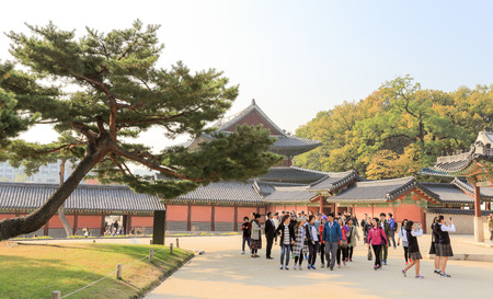 SEOUL, SOUTH KOREA - October 29, 2014 :Tourist visit at Changdeokgung palace, built by the kings of the Joseon Dynasty on October 29, 2014 in Seoul, South Korea