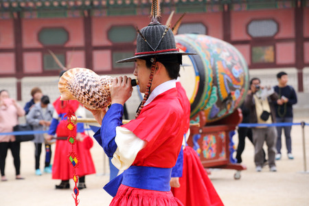 SEOUL, SOUTH KOREA - October 31, 2014 : The ceremony to change the guards at the Gyeongbokgung Palace complex  on October 31, 2014 in Seoul, South Korea