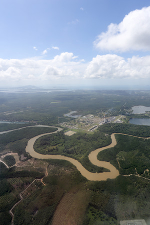 Aerial view of petrol industrial near Krabi in Thailand photo