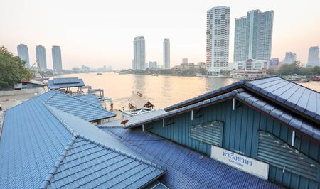 Bangkok, Thailand - FEBRUARY 7, 2015: the Sathorn pier offers the service of Chao Phraya Express boats and ferry.