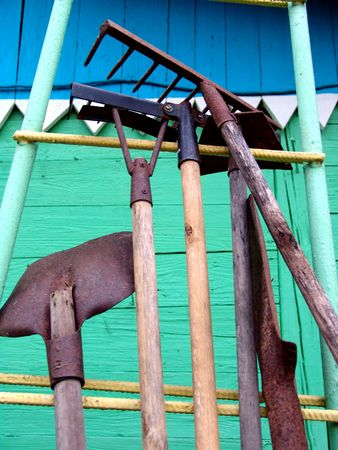 Gardening tools stored outdoors Stock Photo - 386114