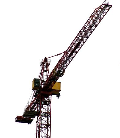 A construction crane isolated on white