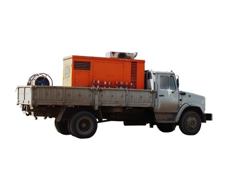 A truck with equipment, used by roadworks, isolated Stock Photo