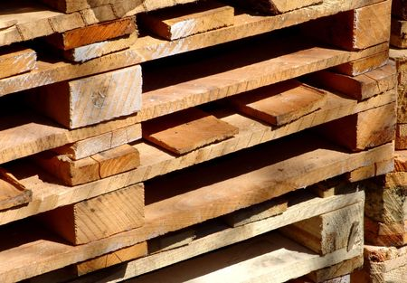 A stack of europallets Imagens