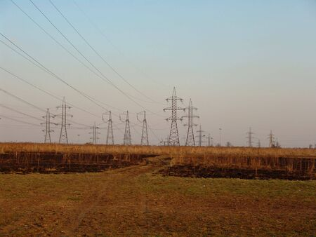 A large power transmitting line on a field Stock Photo - 887155