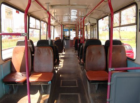 Inside a trolleybus