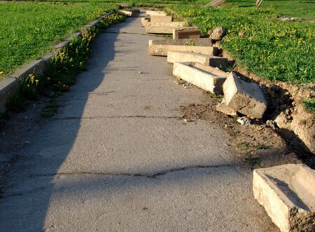A pedestrian road under construction Stock Photo