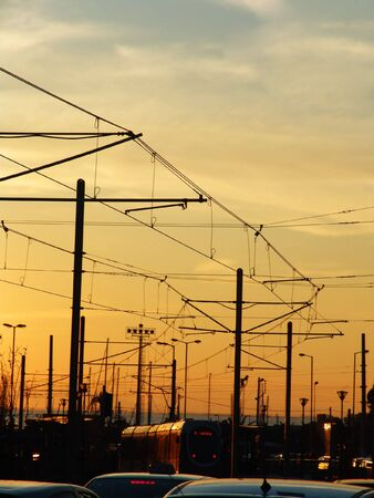 An urbanistic evening view of a tram line