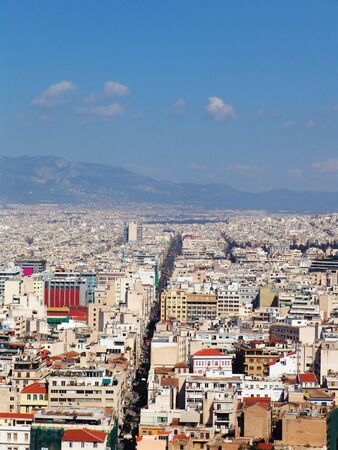 An aerial view of the city of Athens in Greece by a good weather
