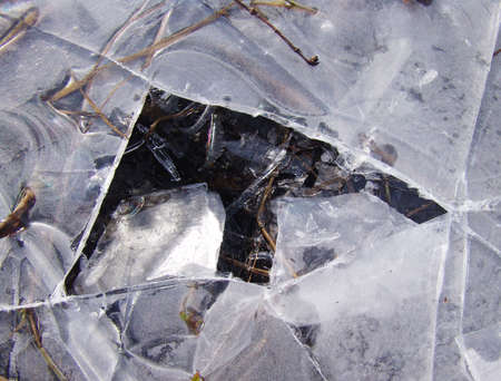 cracks in ice: A closeup of a broken ice part on a street Stock Photo